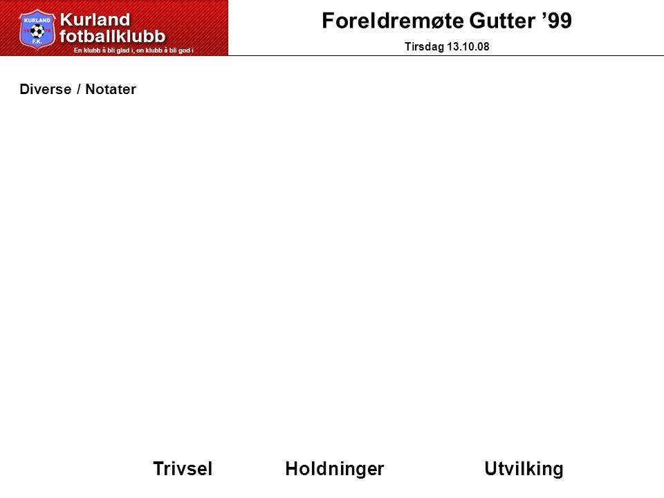 Foreldremøte Gutter '99 Tirsdag 13.10.08 Diverse / Notater Trivsel HoldningerUtvilking
