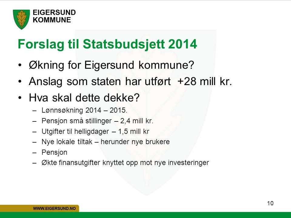 10 Forslag til Statsbudsjett 2014 Økning for Eigersund kommune? Anslag som staten har utført +28 mill kr. Hva skal dette dekke? –Lønnsøkning 2014 – 20