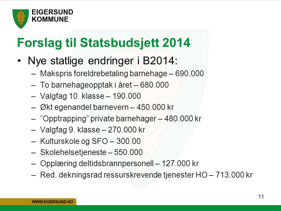 11 Forslag til Statsbudsjett 2014 Nye statlige endringer i B2014: –Makspris foreldrebetaling barnehage – 690.000 –To barnehageopptak i året – 680.000