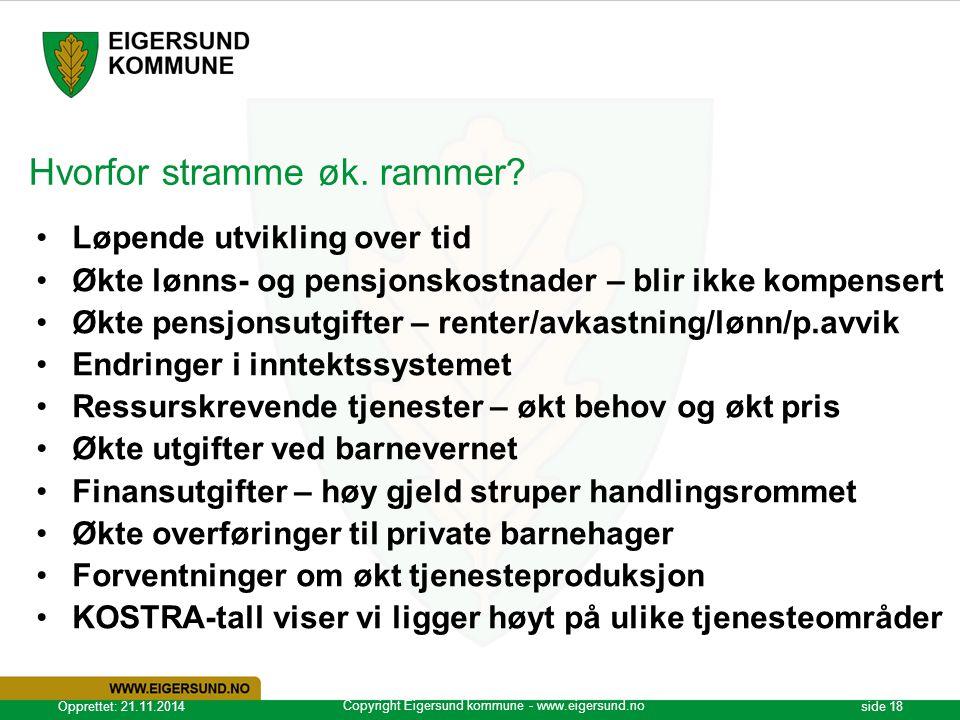 Copyright Eigersund kommune - www.eigersund.no Opprettet: 21.11.2014side 18 Hvorfor stramme øk. rammer? Løpende utvikling over tid Økte lønns- og pens