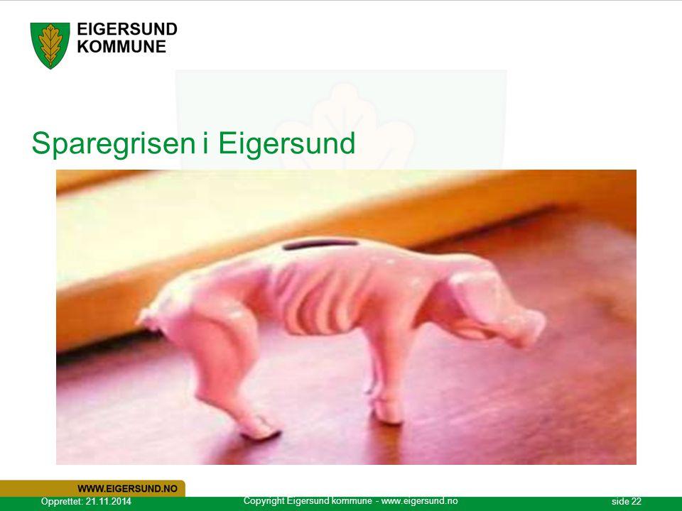 Copyright Eigersund kommune - www.eigersund.no Opprettet: 21.11.2014side 22 Sparegrisen i Eigersund