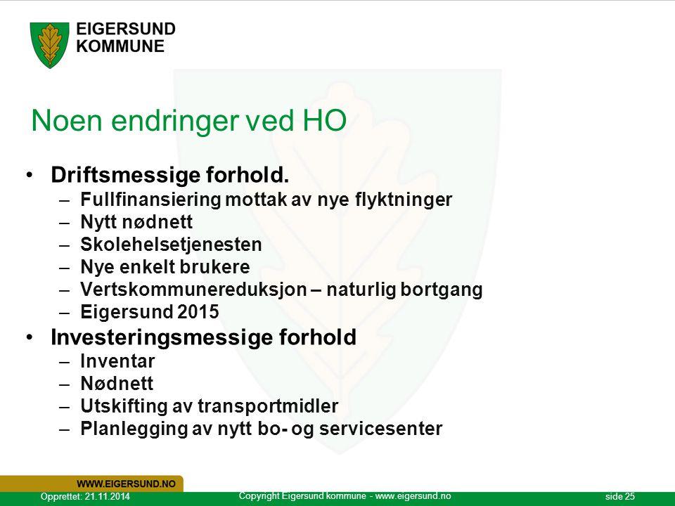 Copyright Eigersund kommune - www.eigersund.no Opprettet: 21.11.2014side 25 Noen endringer ved HO Driftsmessige forhold. –Fullfinansiering mottak av n