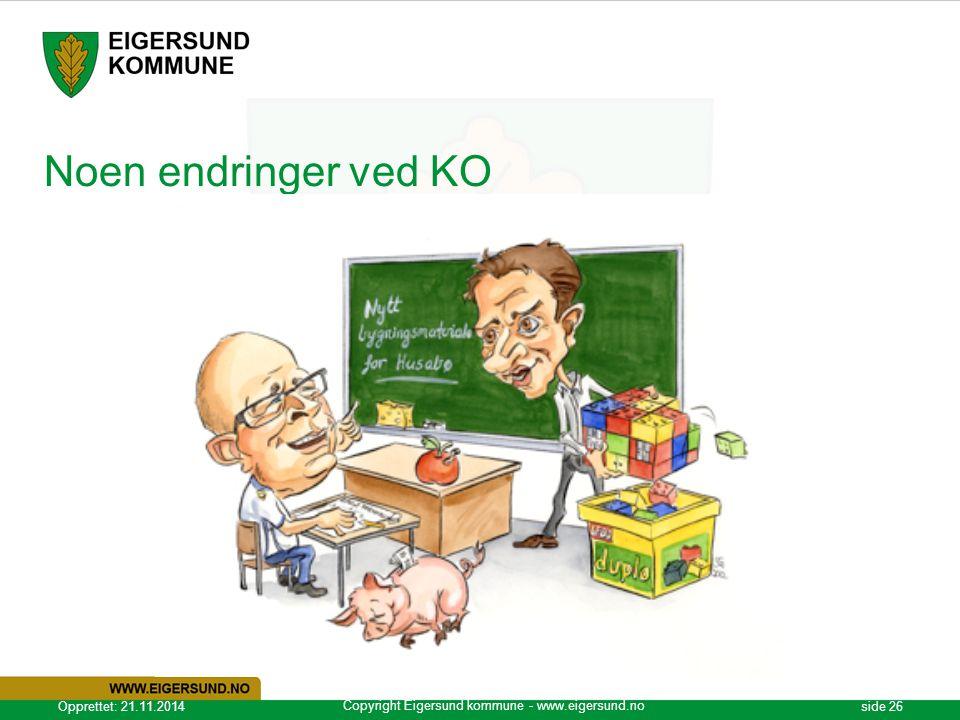 Copyright Eigersund kommune - www.eigersund.no Opprettet: 21.11.2014side 26 Noen endringer ved KO