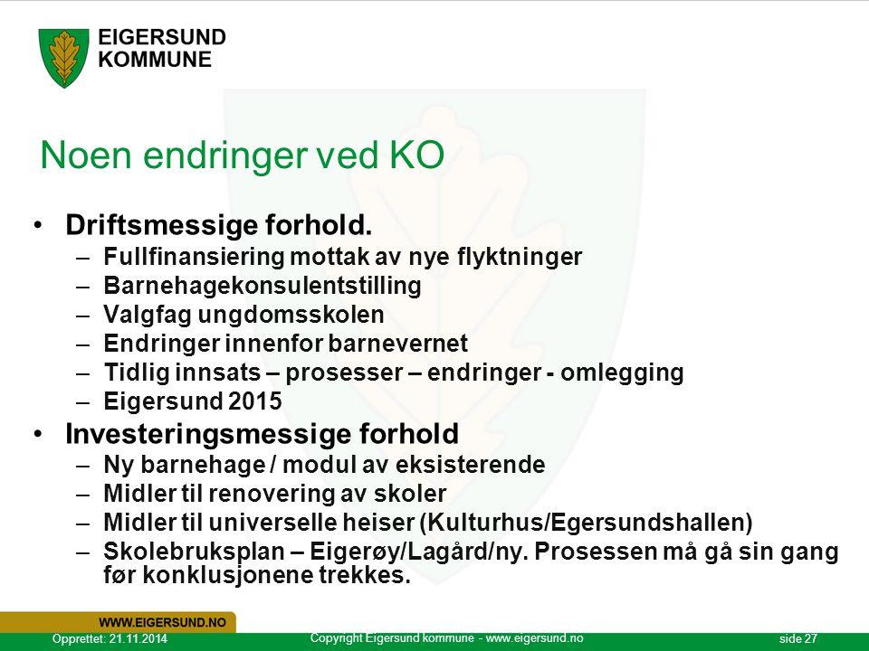 Copyright Eigersund kommune - www.eigersund.no Opprettet: 21.11.2014side 27 Noen endringer ved KO Driftsmessige forhold. –Fullfinansiering mottak av n
