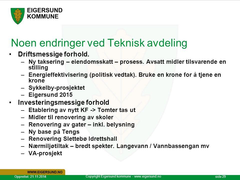 Copyright Eigersund kommune - www.eigersund.no Opprettet: 21.11.2014side 29 Noen endringer ved Teknisk avdeling Driftsmessige forhold. –Ny taksering –