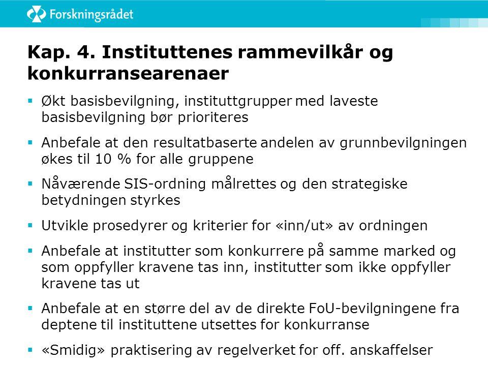 Forskningsrådets strategi for instituttsektoren  Videreutvikle kunnskapsgrunnlaget og evaluere alle forskningsinstituttene i perioden 2013-2018  Leg