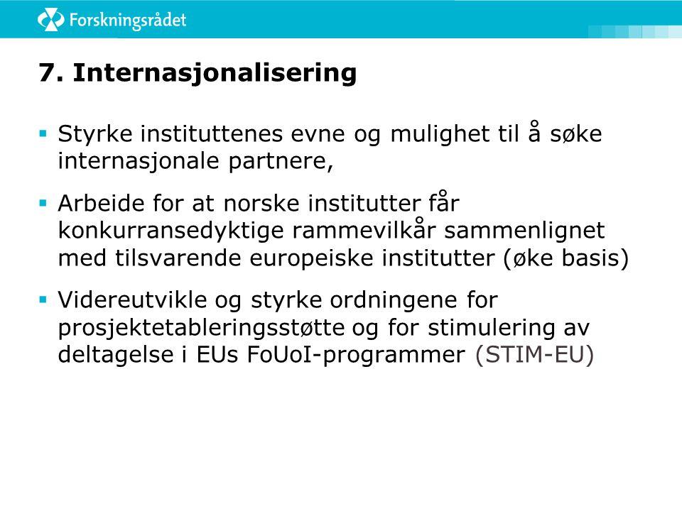 6. Instituttsektorens rolle i doktorgradsutdanningen  Gjennomgå virkemiddelportefølgen og event. foreslå tiltak som kan styrke instituttenes deltagel