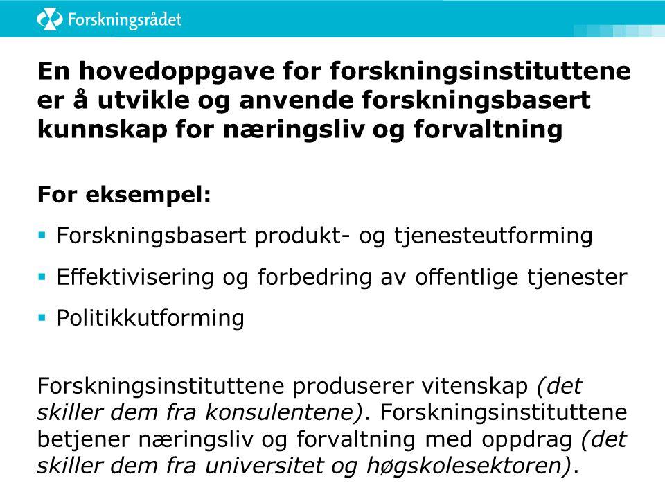 Strategi for instituttsektoren Forskningsinstituttenes rolle og oppgaver i det norske FoU-systemet  Innovasjon og næringsutvikling  Politikkutvikling og fornyelse i offentlig sektor  Kunnskaps- og kompetanseutvikling Utfordringer: Internasjonalisering Økt konkurranse Svak økonomi