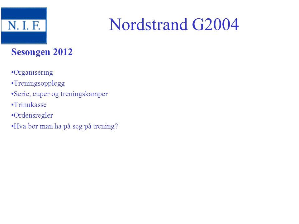 Sesongen 2012 Organisering Treningsopplegg Serie, cuper og treningskamper Trinnkasse Ordensregler Hva bør man ha på seg på trening? Nordstrand G2004