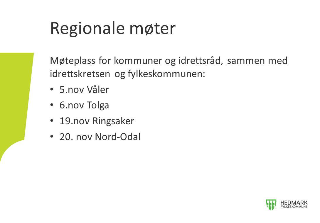 Møteplass for kommuner og idrettsråd, sammen med idrettskretsen og fylkeskommunen: 5.nov Våler 6.nov Tolga 19.nov Ringsaker 20.