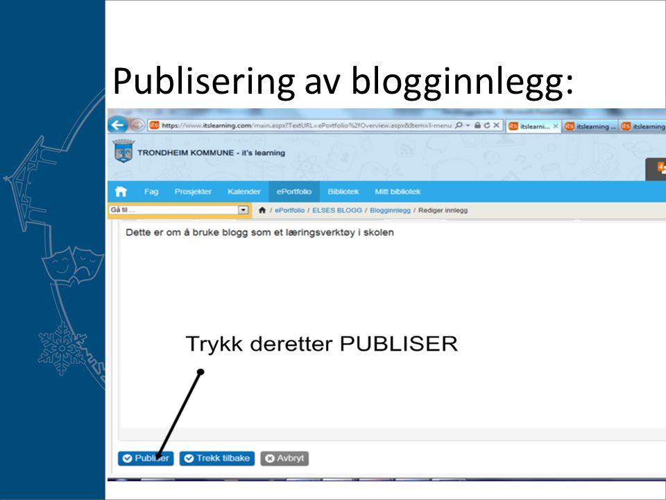 Publisering av blogginnlegg: