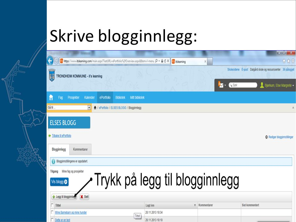 Skrive blogginnlegg: