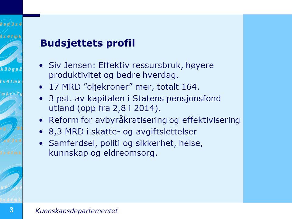 """3 Kunnskapsdepartementet Budsjettets profil Siv Jensen: Effektiv ressursbruk, høyere produktivitet og bedre hverdag. 17 MRD """"oljekroner"""" mer, totalt 1"""