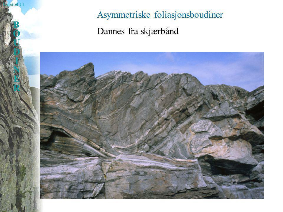 Kapittel 14 BOUDINERBOUDINER Asymmetriske foliasjonsboudiner Dannes fra skjærbånd