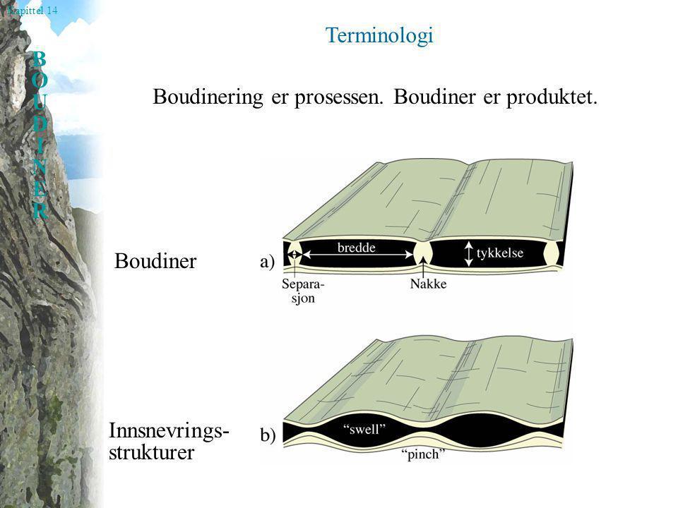 Kapittel 14 BOUDINERBOUDINER Terminologi Boudiner Innsnevrings- strukturer Boudinering er prosessen. Boudiner er produktet.