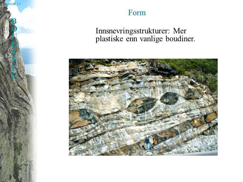 Kapittel 14 BOUDINERBOUDINER Form Innsnevringsstrukturer: Mer plastiske enn vanlige boudiner.