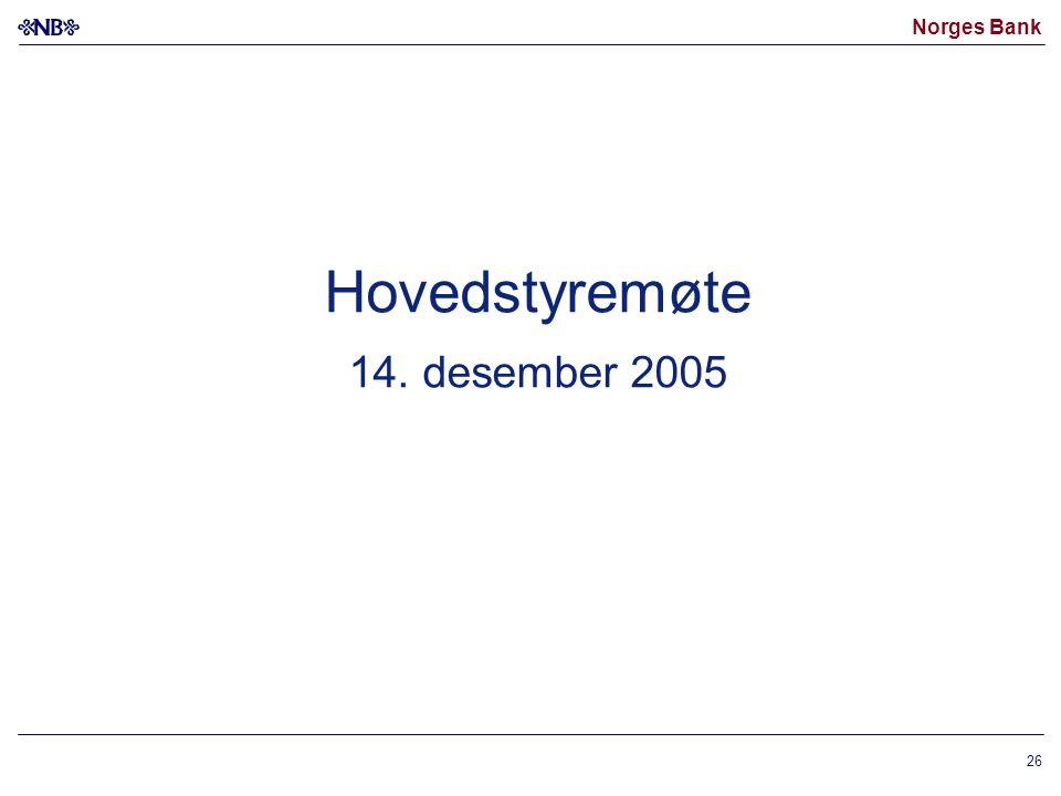 Norges Bank 26 Hovedstyremøte 14. desember 2005