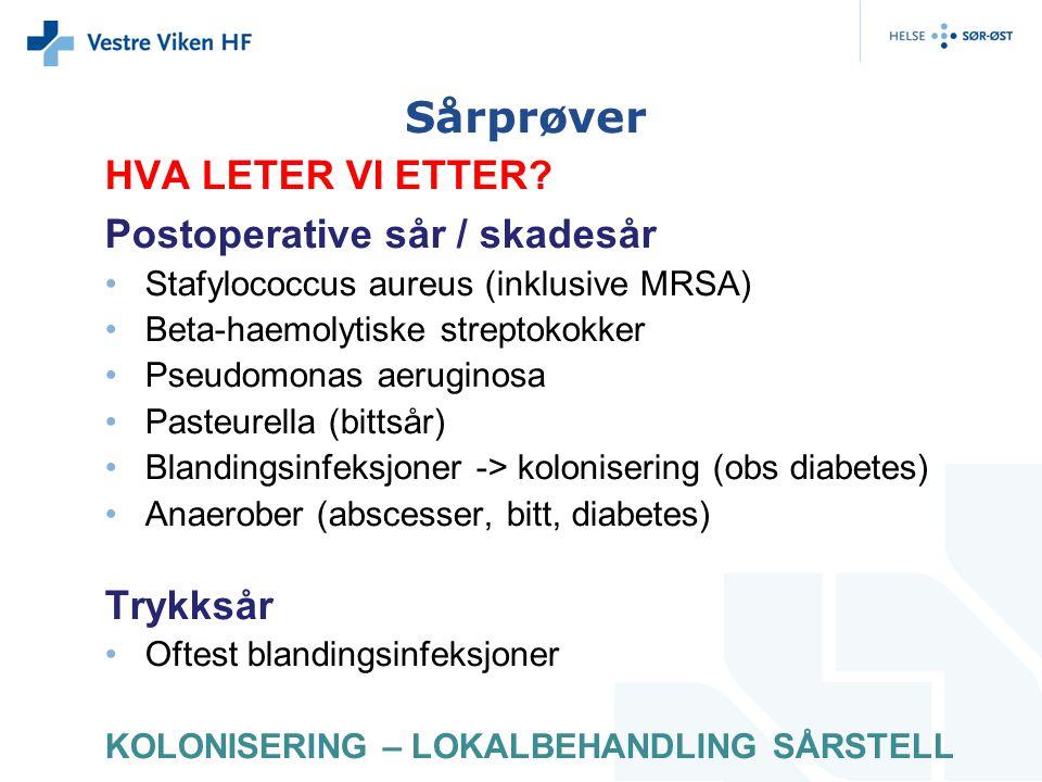 Sårprøver HVA LETER VI ETTER? Postoperative sår / skadesår Stafylococcus aureus (inklusive MRSA) Beta-haemolytiske streptokokker Pseudomonas aeruginos