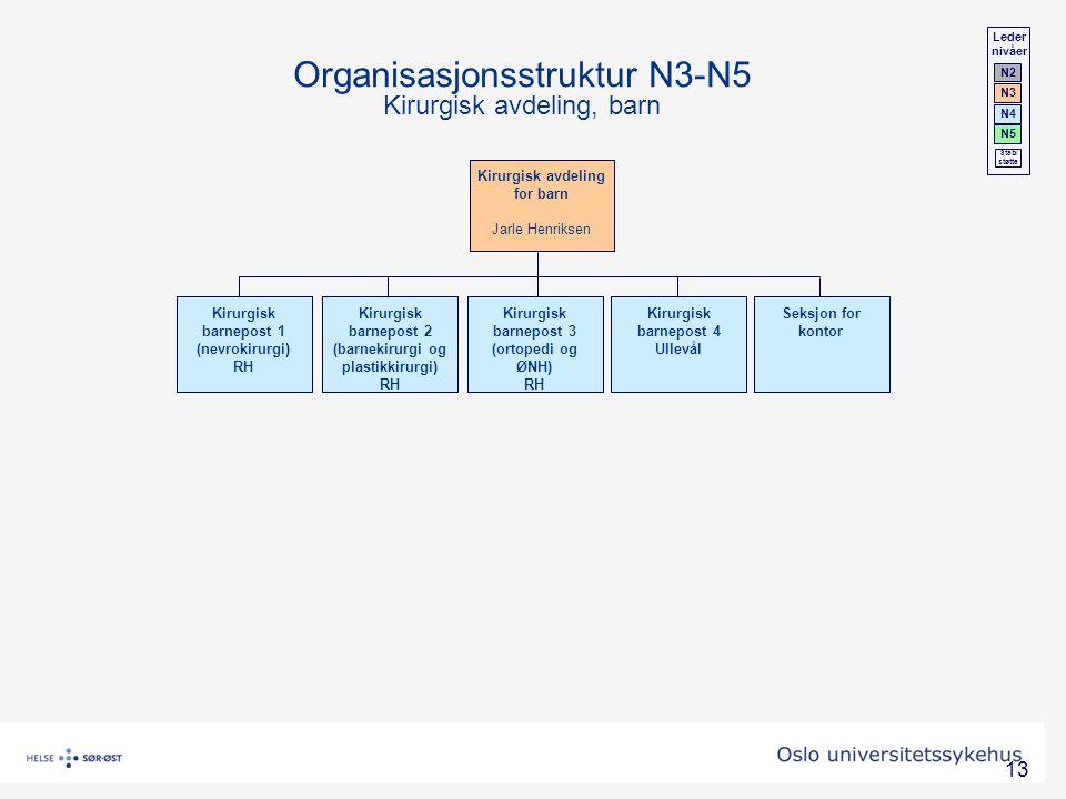 13 Kirurgisk avdeling for barn Jarle Henriksen Organisasjonsstruktur N3-N5 Kirurgisk avdeling, barn Kirurgisk barnepost 1 (nevrokirurgi) RH Kirurgisk
