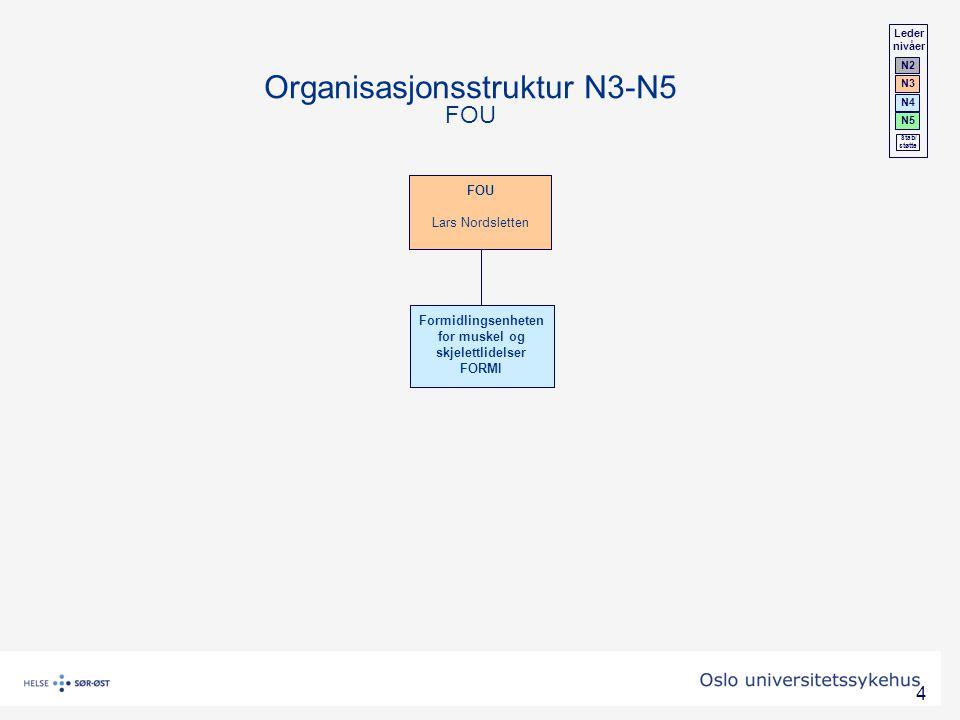 4 Organisasjonsstruktur N3-N5 FOU Leder nivåer N2 N3 N4 N5 Stab/ støtte Formidlingsenheten for muskel og skjelettlidelser FORMI FOU Lars Nordsletten