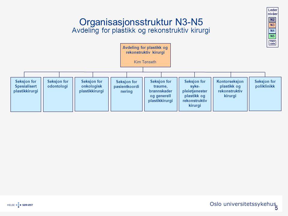 5 Avdeling for plastikk og rekonstruktiv kirurgi Kim Tønseth Kontorseksjon plastikk og rekonstruktiv kirurgi Organisasjonsstruktur N3-N5 Avdeling for
