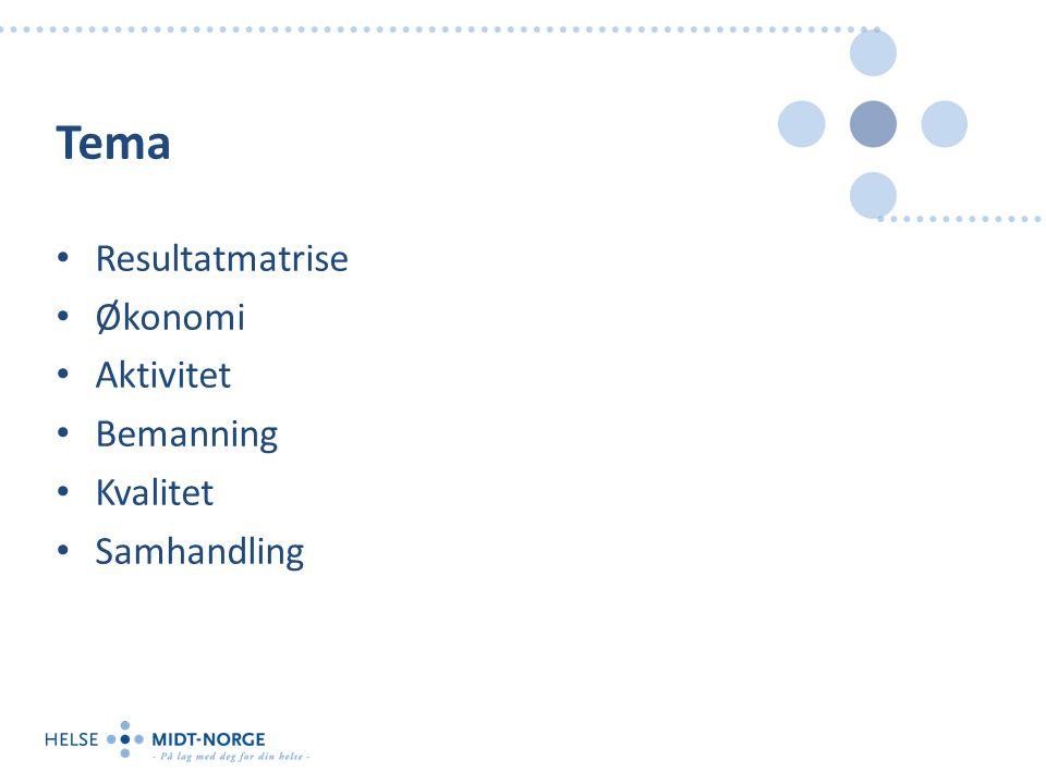 Tema Resultatmatrise Økonomi Aktivitet Bemanning Kvalitet Samhandling