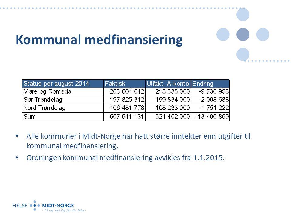 Kommunal medfinansiering Alle kommuner i Midt-Norge har hatt større inntekter enn utgifter til kommunal medfinansiering.