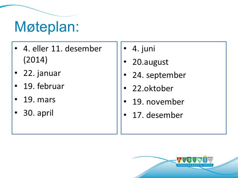 Møteplan: 4.eller 11. desember (2014) 22. januar 19.