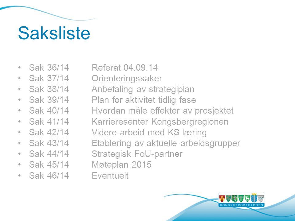 Saksliste Sak 36/14Referat 04.09.14 Sak 37/14Orienteringssaker Sak 38/14Anbefaling av strategiplan Sak 39/14Plan for aktivitet tidlig fase Sak 40/14Hvordan måle effekter av prosjektet Sak 41/14Karrieresenter Kongsbergregionen Sak 42/14Videre arbeid med KS læring Sak 43/14Etablering av aktuelle arbeidsgrupper Sak 44/14Strategisk FoU-partner Sak 45/14Møteplan 2015 Sak 46/14Eventuelt