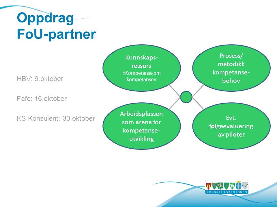 Oppdrag FoU-partner HBV: 9.oktober Fafo: 16.oktober KS Konsulent: 30.oktober Kunnskaps- ressurs «Kompetanse om kompetanse» Prosess/ metodikk kompetanse- behov Evt.