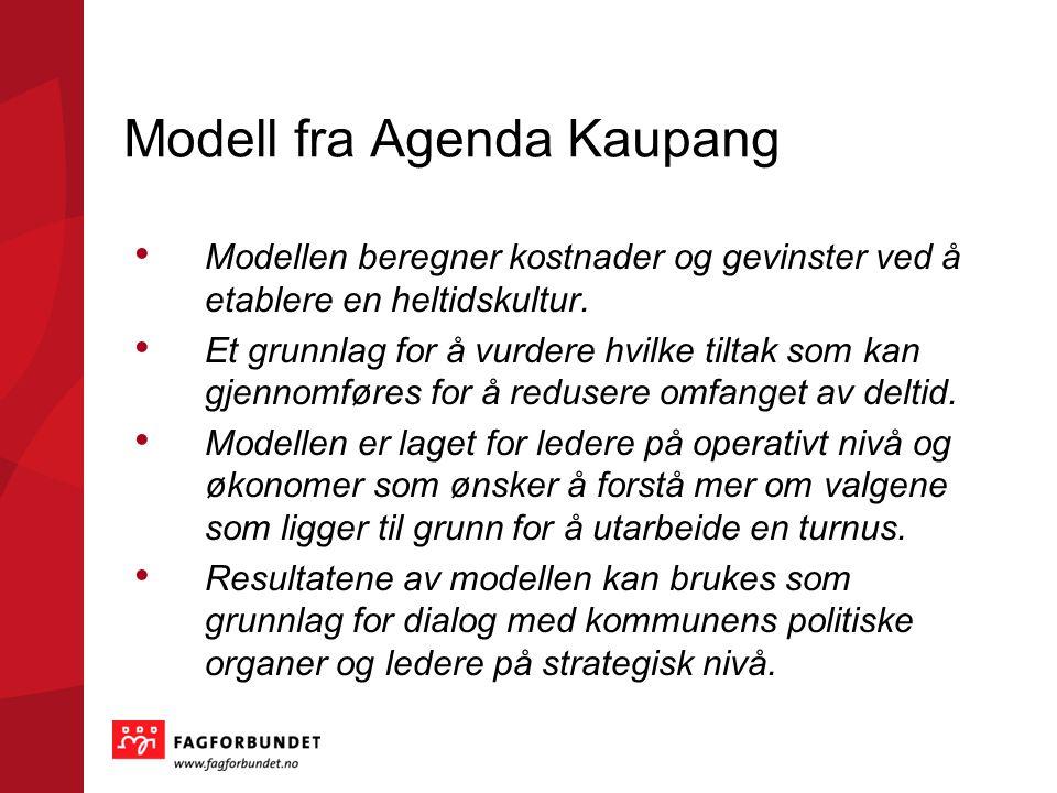Modell fra Agenda Kaupang Modellen beregner kostnader og gevinster ved å etablere en heltidskultur. Et grunnlag for å vurdere hvilke tiltak som kan g