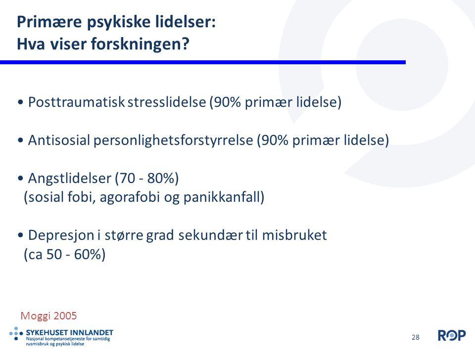 28 Primære psykiske lidelser: Hva viser forskningen? Posttraumatisk stresslidelse (90% primær lidelse) Antisosial personlighetsforstyrrelse (90% primæ