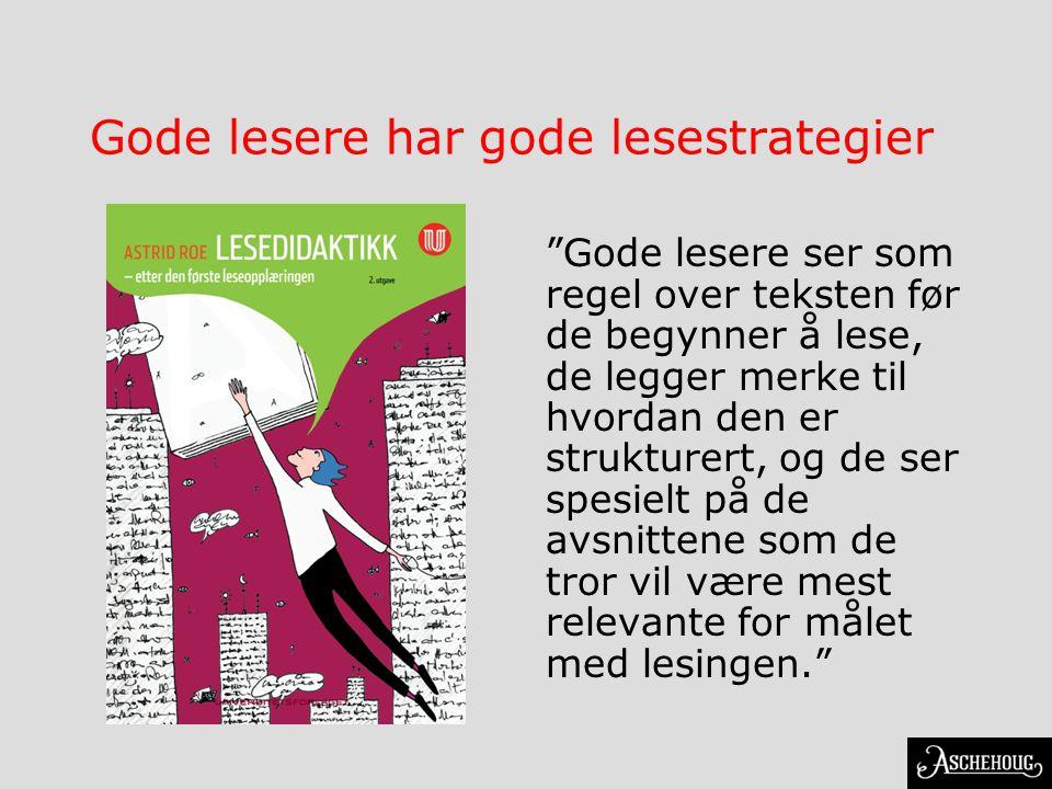"""Gode lesere har gode lesestrategier """"Gode lesere ser som regel over teksten før de begynner å lese, de legger merke til hvordan den er strukturert, og"""