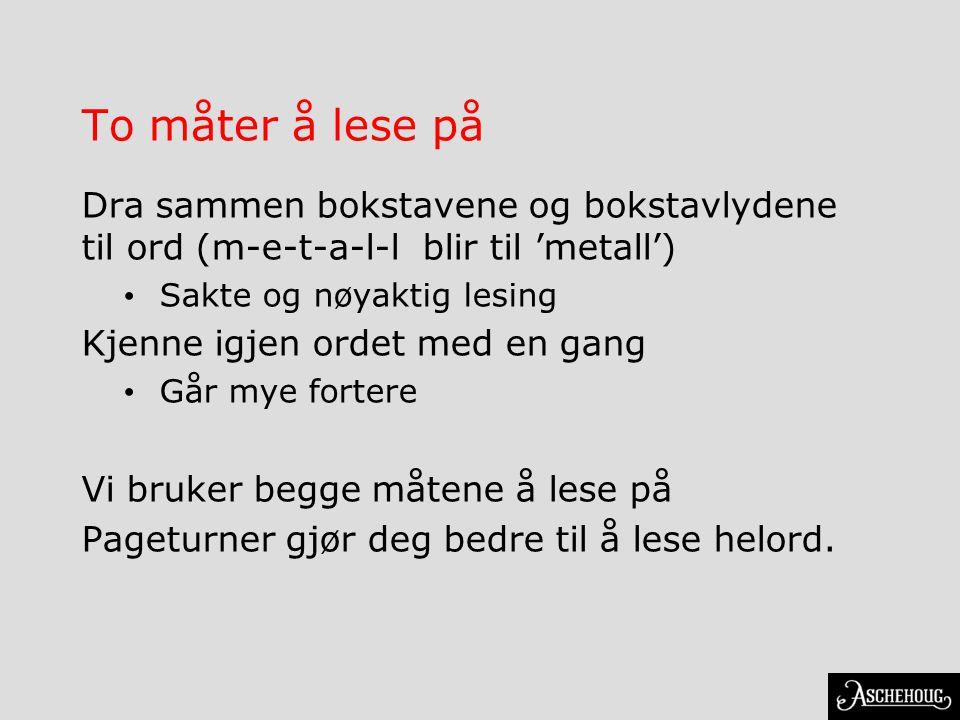 To måter å lese på Dra sammen bokstavene og bokstavlydene til ord (m-e-t-a-l-l blir til 'metall') Sakte og nøyaktig lesing Kjenne igjen ordet med en g