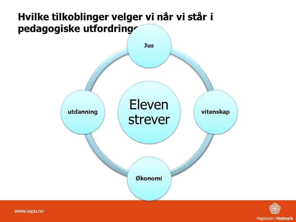 Hvilke tilkoblinger velger vi når vi står i pedagogiske utfordringer? www.sepu.no