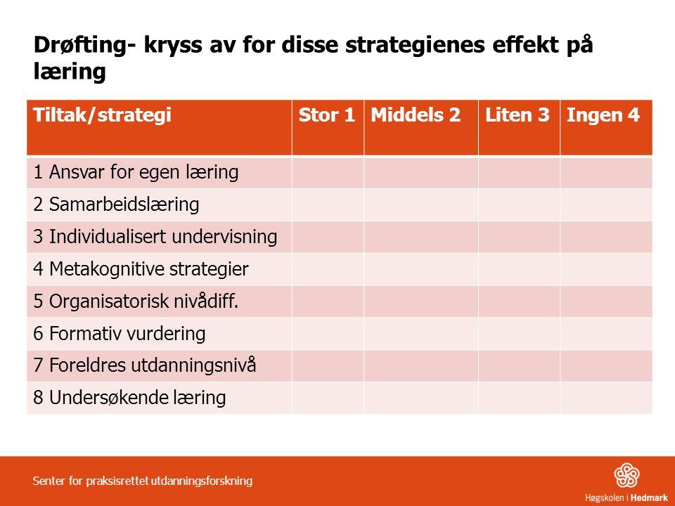 Drøfting- kryss av for disse strategienes effekt på læring Tiltak/strategiStor 1Middels 2Liten 3Ingen 4 1 Ansvar for egen læring 2 Samarbeidslæring 3 Individualisert undervisning 4 Metakognitive strategier 5 Organisatorisk nivådiff.