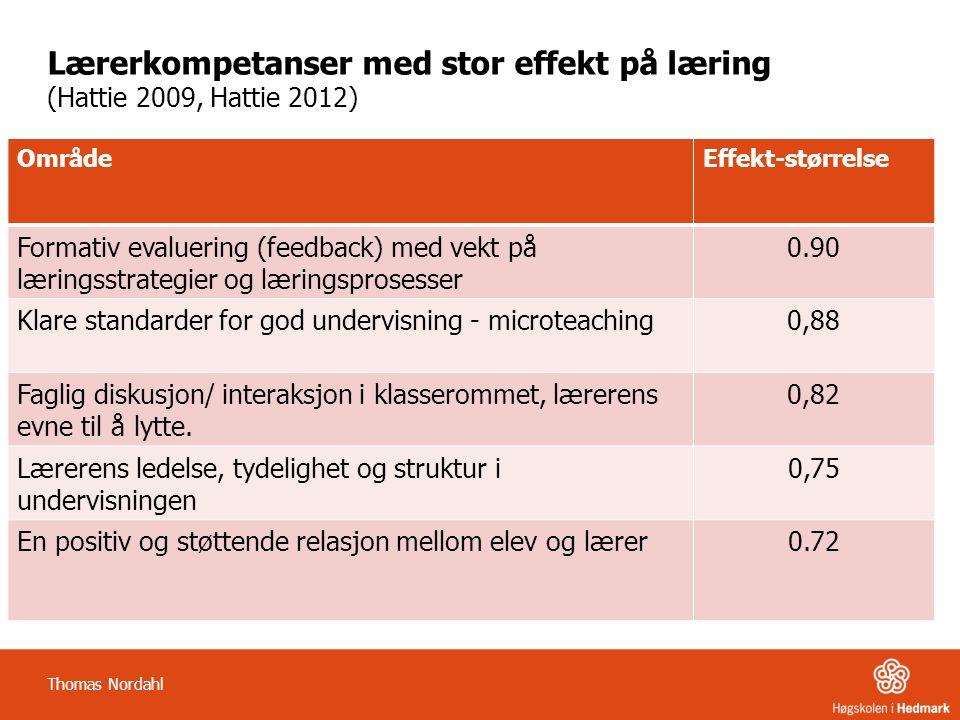 Lærerkompetanser med stor effekt på læring (Hattie 2009, Hattie 2012) OmrådeEffekt-størrelse Formativ evaluering (feedback) med vekt på læringsstrategier og læringsprosesser 0.90 Klare standarder for god undervisning - microteaching0,88 Faglig diskusjon/ interaksjon i klasserommet, lærerens evne til å lytte.