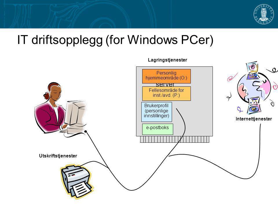 IT driftsopplegg (for Windows PCer) lagring på server Brukerprofil (personlige innstillinger) e-postboks Personlig hjemmeområde (O:) Fellesområde for inst./avd.