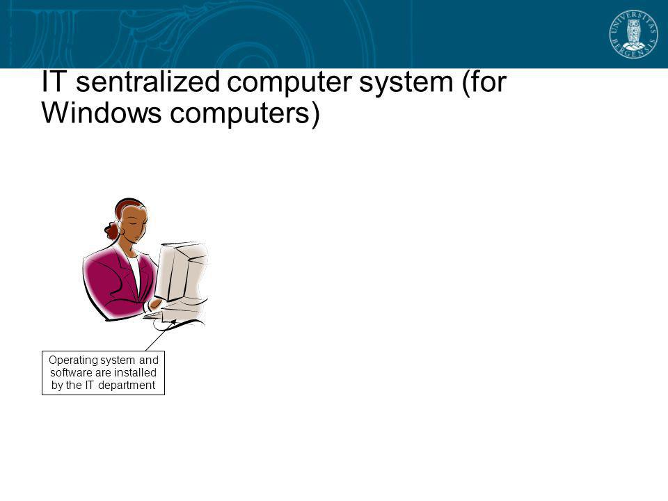 IT sentralized computer system (for Windows computers)‏ Operating system and software are installed by the IT department