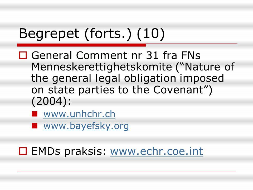 "Begrepet (forts.) (10)  General Comment nr 31 fra FNs Menneskerettighetskomite (""Nature of the general legal obligation imposed on state parties to t"