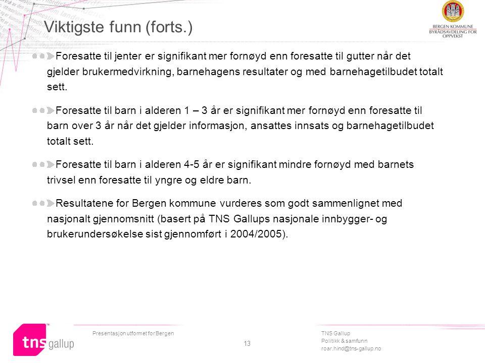 TNS Gallup Politikk & samfunn roar.hind@tns-gallup.no Presentasjon utformet for Bergen 13 Viktigste funn (forts.) Foresatte til jenter er signifikant mer fornøyd enn foresatte til gutter når det gjelder brukermedvirkning, barnehagens resultater og med barnehagetilbudet totalt sett.