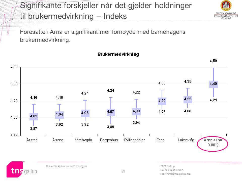 TNS Gallup Politikk & samfunn roar.hind@tns-gallup.no Presentasjon utformet for Bergen 39 Signifikante forskjeller når det gjelder holdninger til brukermedvirkning – Indeks Foresatte i Arna er signifikant mer fornøyde med barnehagens brukermedvirkning.