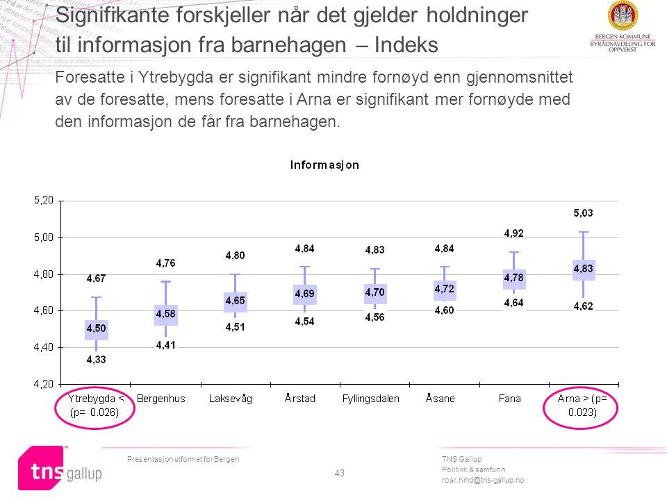 TNS Gallup Politikk & samfunn roar.hind@tns-gallup.no Presentasjon utformet for Bergen 43 Signifikante forskjeller når det gjelder holdninger til info