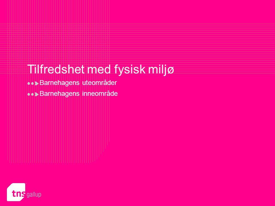 TNS Gallup Politikk & samfunn roar.hind@tns-gallup.no Presentasjon utformet for Bergen 44 Tilfredshet med fysisk miljø Barnehagens uteområder Barnehag