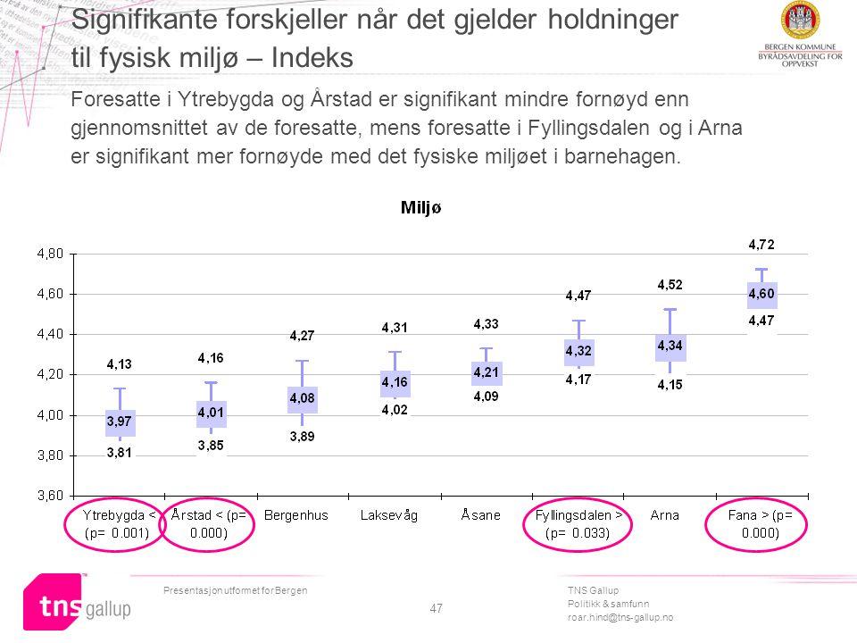 TNS Gallup Politikk & samfunn roar.hind@tns-gallup.no Presentasjon utformet for Bergen 47 Signifikante forskjeller når det gjelder holdninger til fysisk miljø – Indeks Foresatte i Ytrebygda og Årstad er signifikant mindre fornøyd enn gjennomsnittet av de foresatte, mens foresatte i Fyllingsdalen og i Arna er signifikant mer fornøyde med det fysiske miljøet i barnehagen.