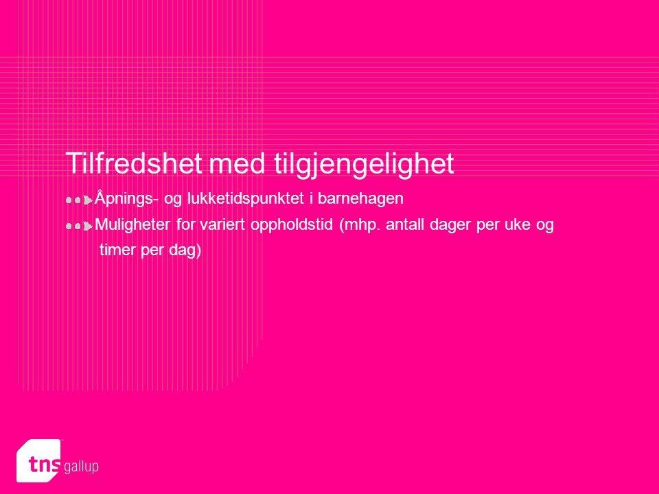 TNS Gallup Politikk & samfunn roar.hind@tns-gallup.no Presentasjon utformet for Bergen 48 Tilfredshet med tilgjengelighet Åpnings- og lukketidspunktet i barnehagen Muligheter for variert oppholdstid (mhp.