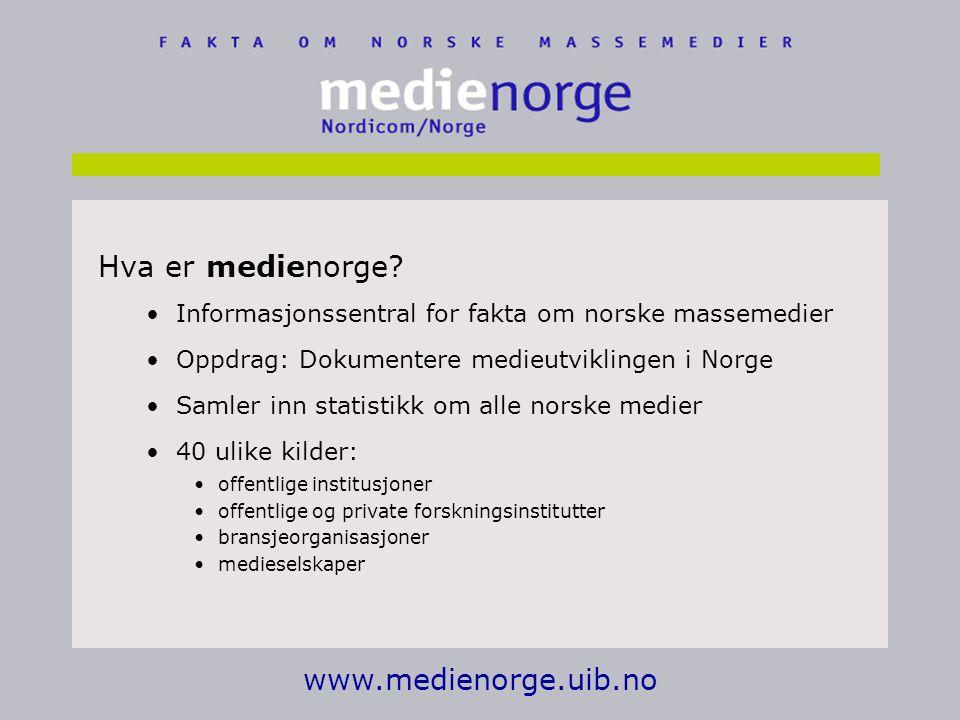 www.medienorge.uib.no Hva er medienorge.