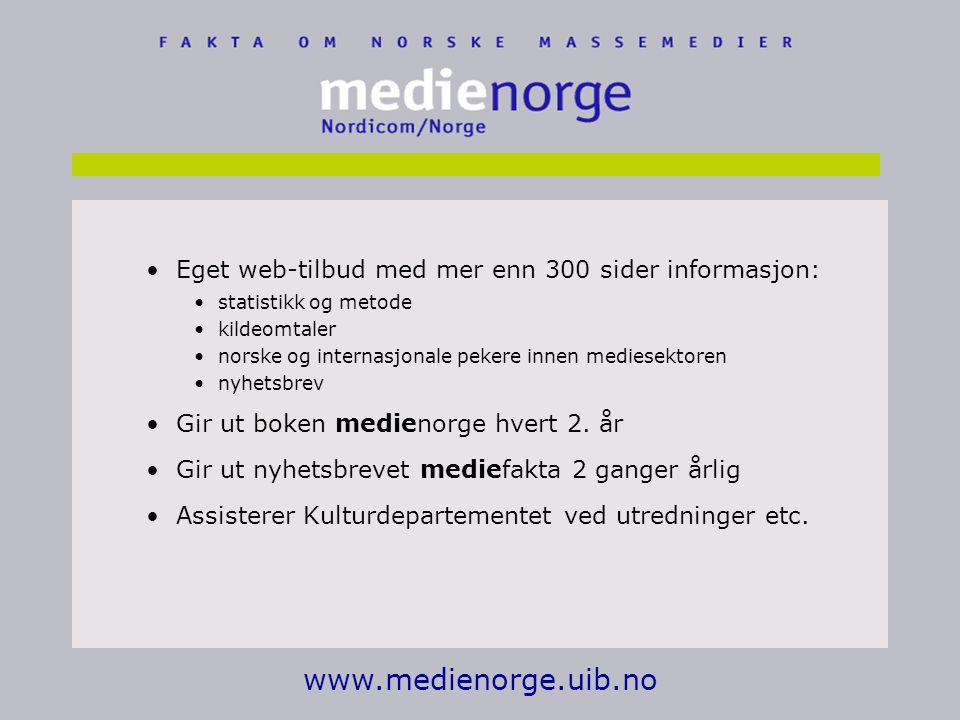 www.medienorge.uib.no Eget web-tilbud med mer enn 300 sider informasjon: statistikk og metode kildeomtaler norske og internasjonale pekere innen mediesektoren nyhetsbrev Gir ut boken medienorge hvert 2.
