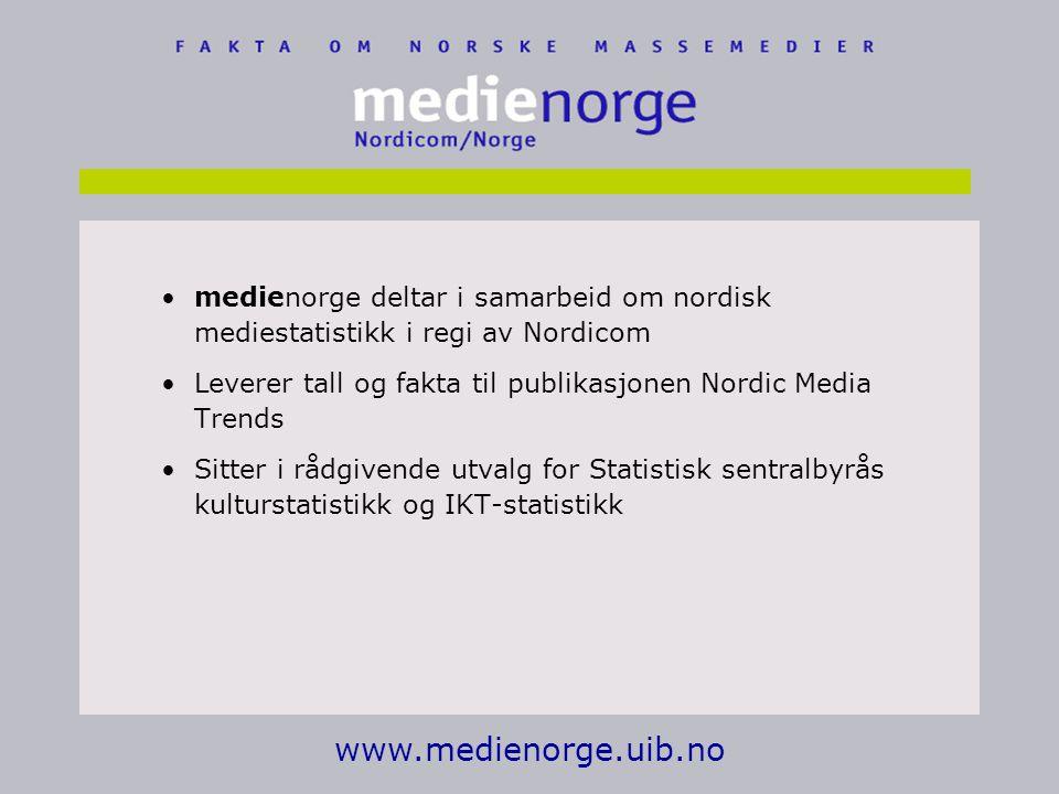 www.medienorge.uib.no medienorge deltar i samarbeid om nordisk mediestatistikk i regi av Nordicom Leverer tall og fakta til publikasjonen Nordic Media Trends Sitter i rådgivende utvalg for Statistisk sentralbyrås kulturstatistikk og IKT-statistikk
