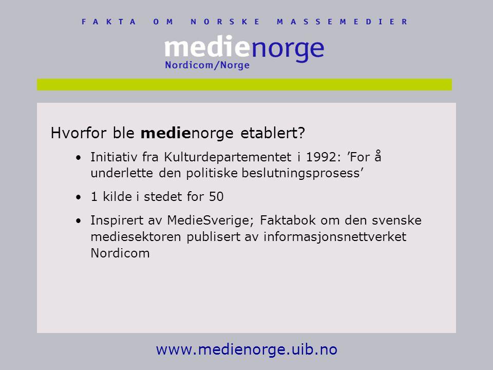 www.medienorge.uib.no Hvorfor ble medienorge etablert.